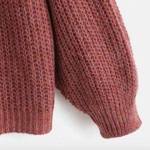 Sweaters - Drop Shoulder V-Neck Oversized Sweater (Plum)